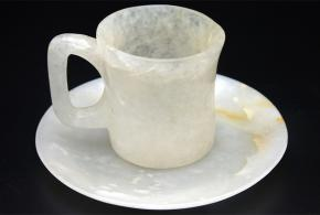 White Agte Plate and Cup